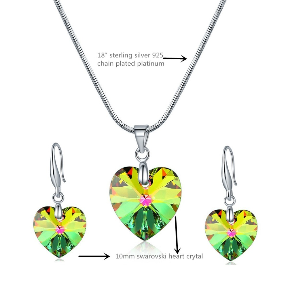 VM love heart crystal stone earring and necklace sets from Swarovski for fashion girls-size
