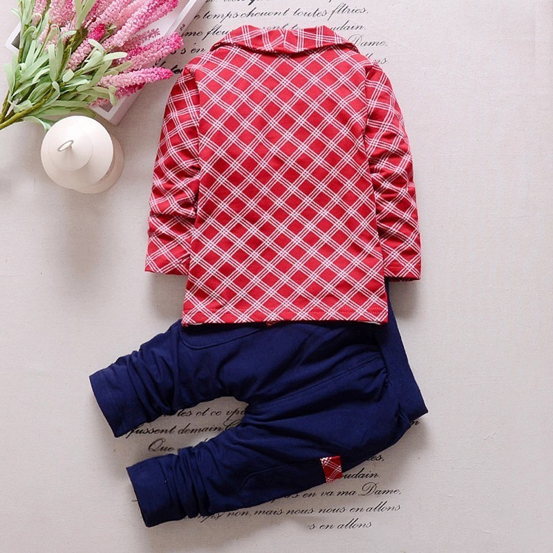 Baby Boys Girls Cotton Clothes Plaid Suits Spring Autumn Toddler Sets Children T-shirt Pants /Sets kids Tracksuits For 1-5 Y