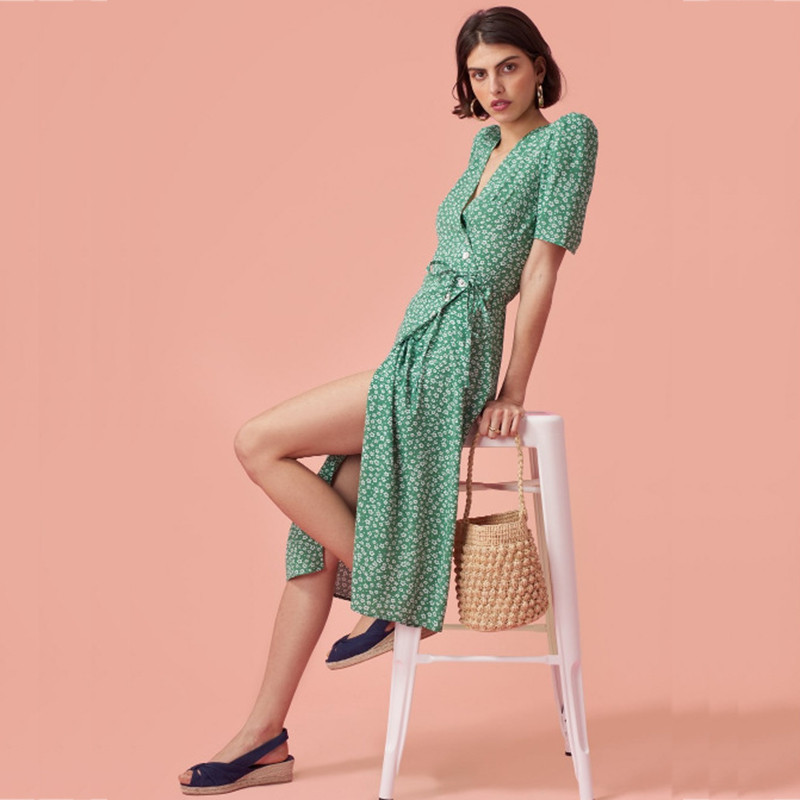 yinlinhe Green Floral Summer Dress Short Sleeve V neck Beach Wrap Dress Women Sash Slim Waist Elegant Button Vestidos 3