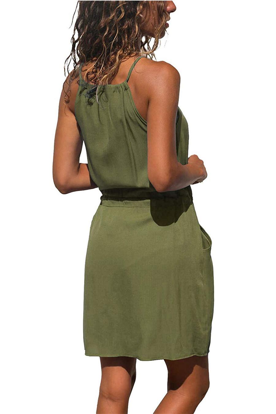 Gladiolus Chiffon Women Summer Dress Spaghetti Strap Floral Print Pocket Sexy Bohemian Beach Dress 2019 Short Ladies Dresses (49)