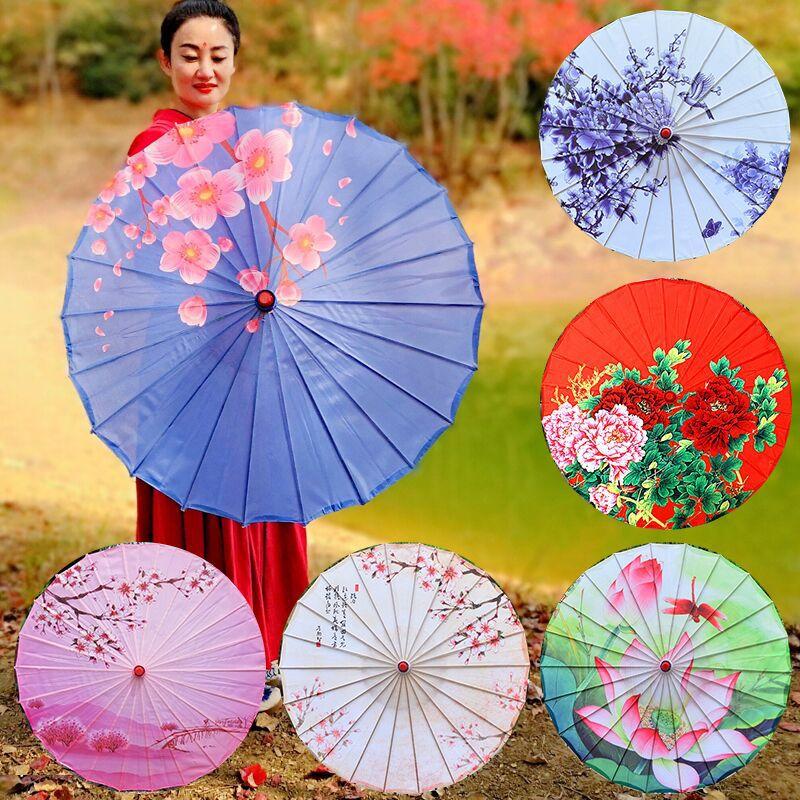 Vintage Bamboo Paper Umbrella Parasol White Dancing Party Coasplay Prop Code