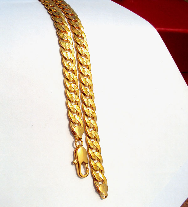 24k Solid Gold Gf Real Two-sided Sequence Sand Cuban Link Chain Necklace 23.6inch Not Satisfied, 7 Days No Reason To Refund Y19050802