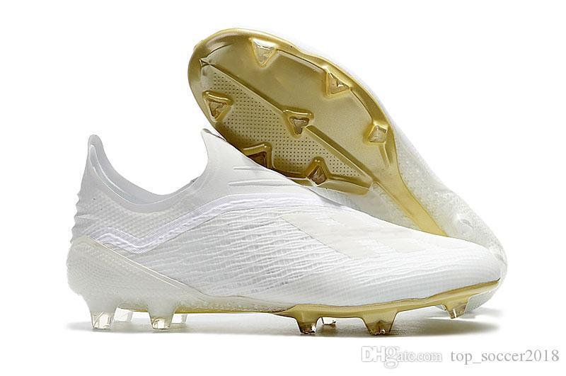 100% Messi Original Football Boots Laceless X 18 FG Men Soccer Shoes Wholesale Pogba Plating soles Soccer Cleats