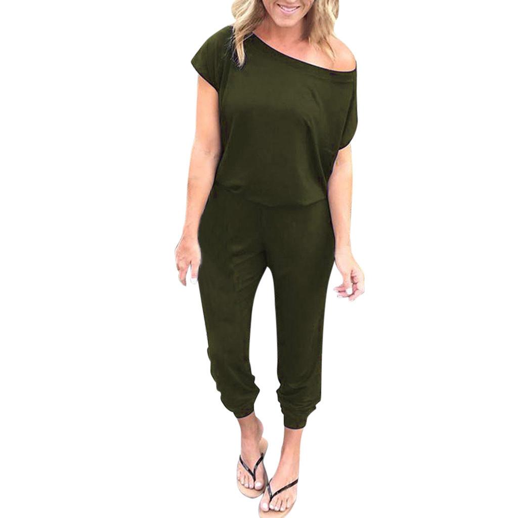 Fashion Womens Off Shoulder Short Sleeve Playsuit Ladies Casual Long Jumpsuit
