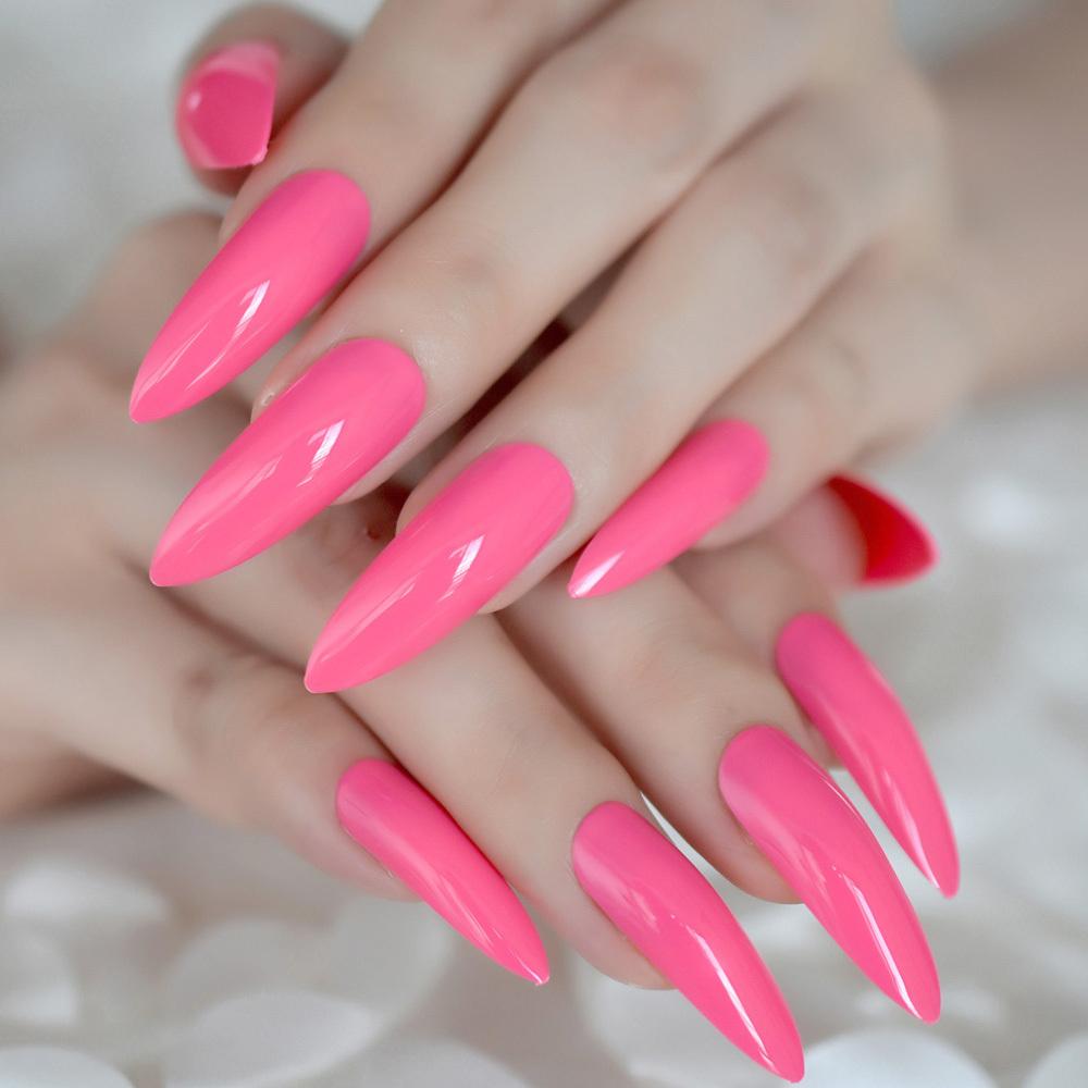 Hot Pink Extra Long False Nails Stiletto Tips Oval Sharp End Stilettos Fake Rose Red Uv Gel Manicure Artificial Salon