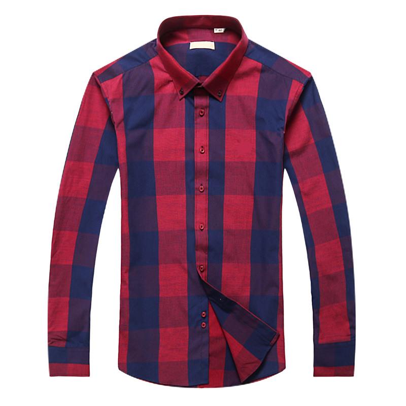 Men T-shirt plaid shirt turndown Collar Fashion Slim fit Long Sleeve Premium 100% Cotton Shirt Men's Shirt