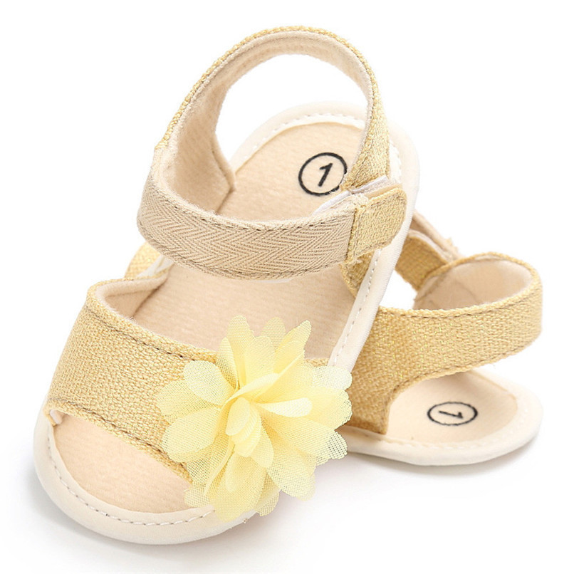 Summer Baby Girl Shoes Newborn Toddler Baby Solid Canvas Flower Sandals Soft Sole Anti-slip Shoes Baby Girls Sandals JE25#F (1)