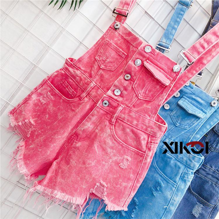 2018 Fashion Denim Bibs Schoolgirl Spring Summer New Loose Korean Thin Hole Burst Fringe Shorts There is a large yard (1)
