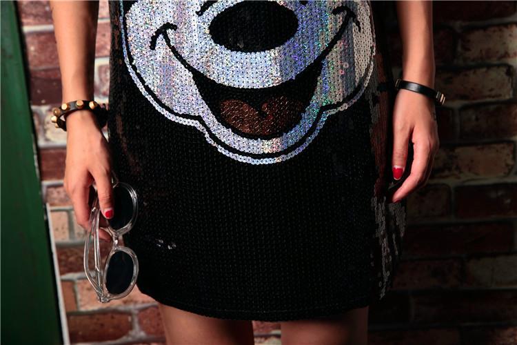 Euro Sequin Dress Femmes D'été Coréenne Fille Sexy Loose Cartoon Mini Robes À Manches Courtes Femme Robes De Soirée Q190513