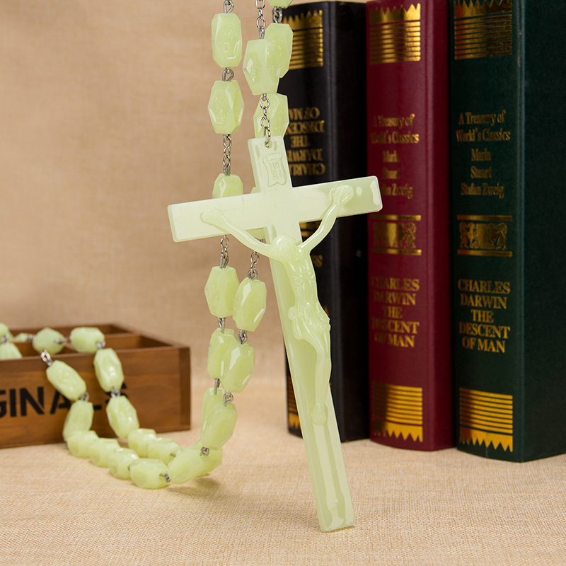 New Trendy Plastic Luminous rose bead Bead catholic rosary cross Pendant Bracelet For Women Jewelry Bangles Religious Gifts