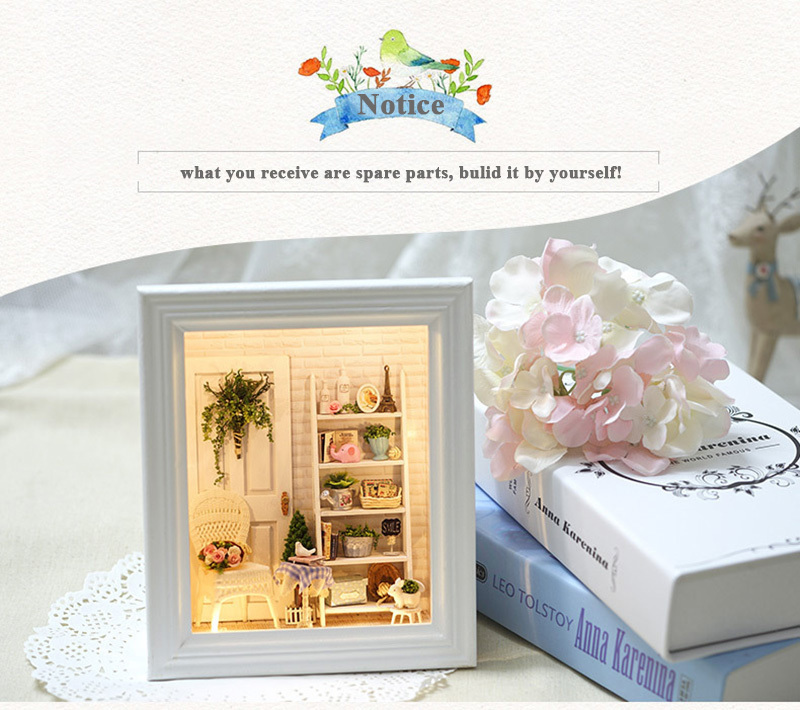 Doll House Frame Miniature with Furniture Model Building Kits DIY Wooden Dollhouse Miniaturas Toys for Children Birthday Gift (3)