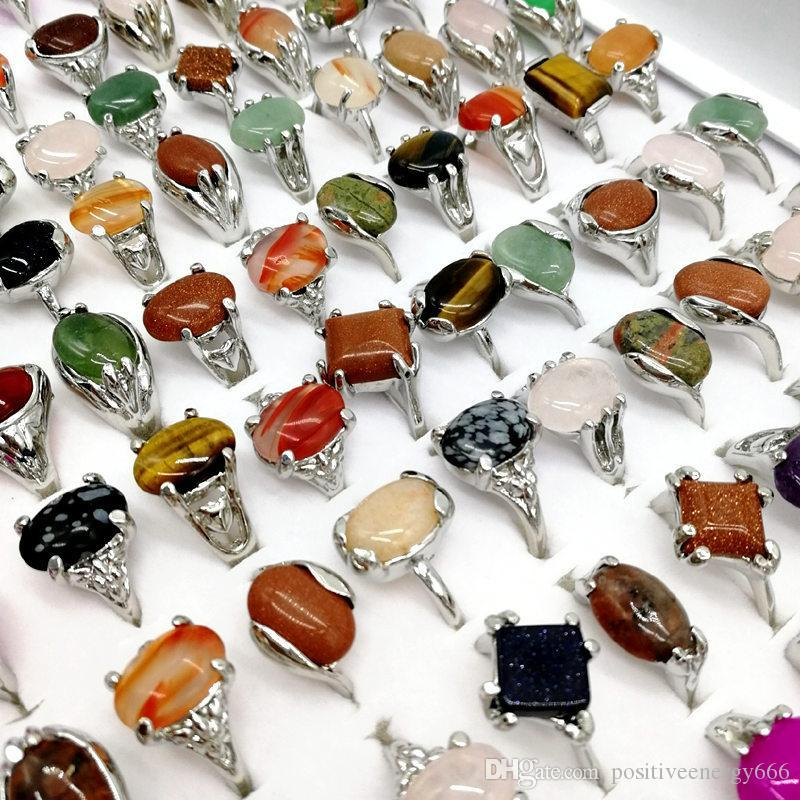 Fashion Rainbow Stone Ring Mix Style Designs Women's Natural Stone Ring Jewelry Gift