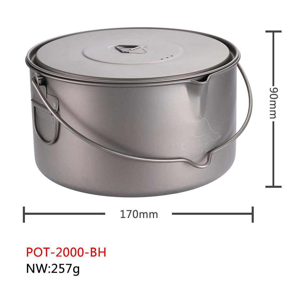 Toaks Titan 1300ml Topf mit Pfanne Kochgeschirr Außen Zelten Kochen