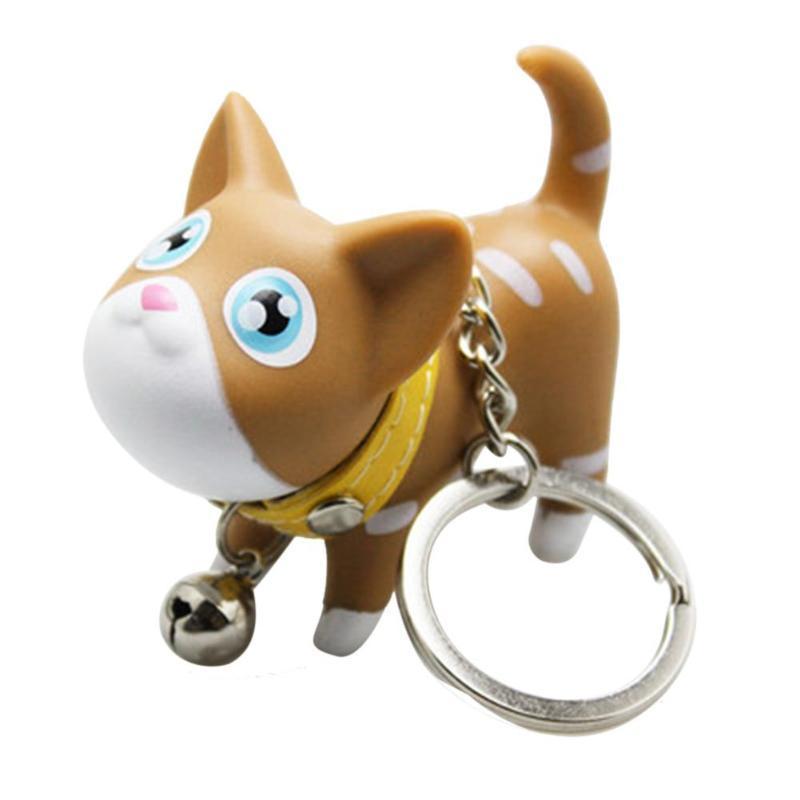 Fashion Cute Cartoon Cat Pendant Key Rings Kitten Cat Key Chain Shake Head Bell Car Bag Keychains Creative C19011001