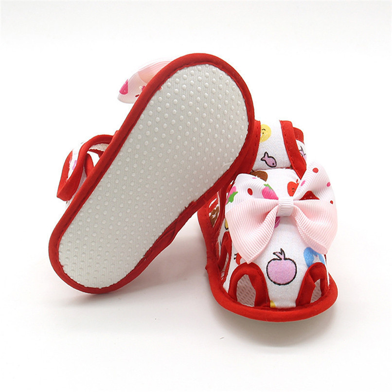 4 Color Summer Girls Shoes Newborn Infant Baby Girls Bow Print Soft Sole Toddler Anti-slip Shoes First Walker NDA84L23 (31)