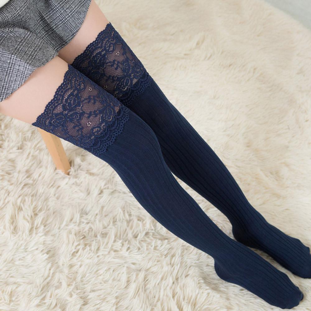 Feitong Donna Lace Trim Socking Ladies Sexy Coscia alta sopra le calze al ginocchio Long Cotton Warm Calze Medias De Mujer 2018 New T190628