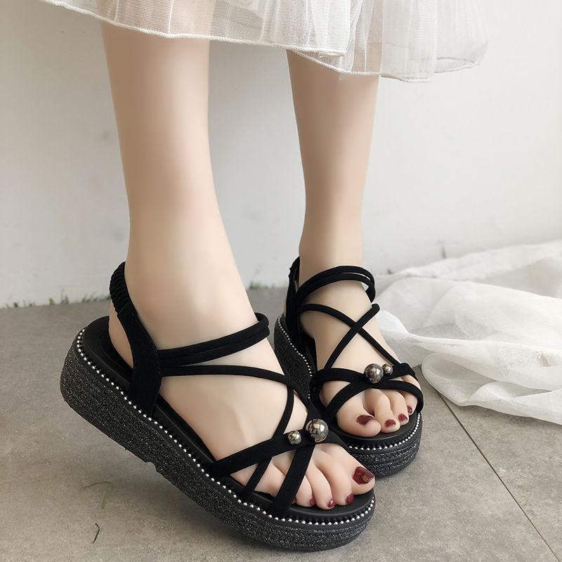 TANGOGO Women Beach Sandals Summer Jelly Shoes Female Flats Shoes Peep-Toe Sandals
