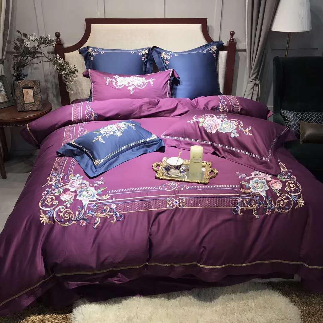Chambre Baroque Noir Et Violet coton des années 60 en coton égyptien baroque broderie haut de gamme lit  confortable ruiyee king set literie housse de couette draps taie d'oreiller
