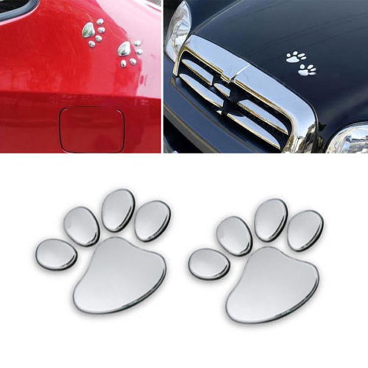 Decoration Plastic Bear Foot Dog Paw Cute Footprint Car Sticker 3D Print~