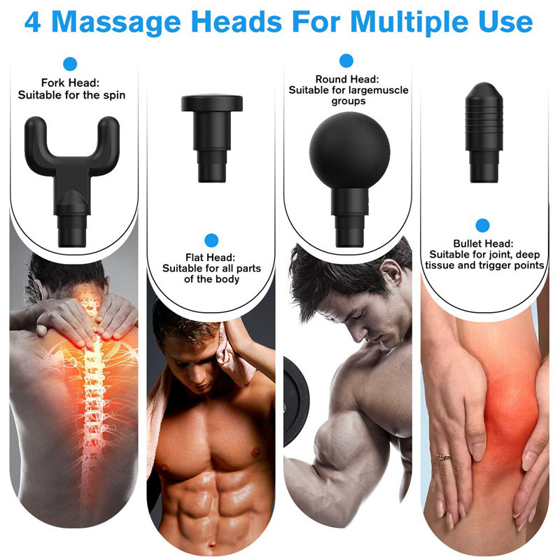 Fascial Gun Muscle Massaging Relax Recovery Soreness Pain Fascia Gun Relief Slimming Shaping Massager 4 Heads Gym Aiding (5)