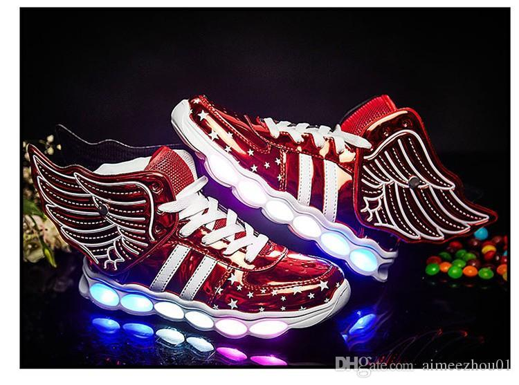 New Children Casual Shoes Lights Glowing usb charging Boys Girls LED Shoes For Kids Luminous Lighted Up Shoes Sneakers with wings men woman