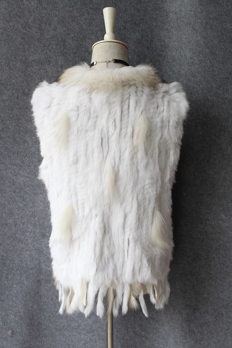 genuine real rabbit fur vest with raccoon fur collar (2)