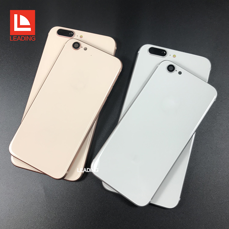 For iPhone 6 6P 6S 6SP 7 7P Plus Back Housing Cover Like iPhone 8 Style Metal Glass Back Cover Replacement with Buttons