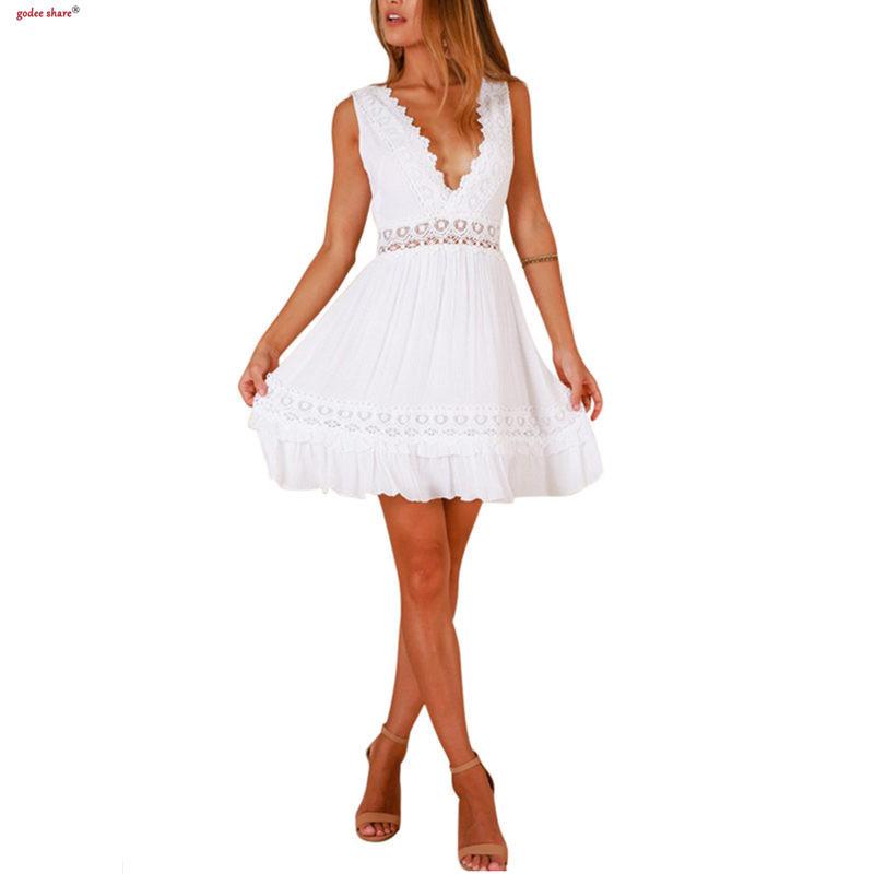 Women Deep V Dress Backless Sleeveless Elegant Hollow Out Lacework Mini Dresses Sexy Vestido Summer Femme Clothes S M L Xl J190429