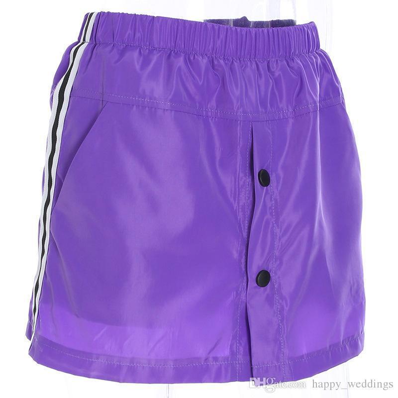Frauen Hohe Taille Patchwork Rock Sommer Streetwear Lila A-linie Röcke Sexy Elastische Taille Taste Satin Punk Röcke