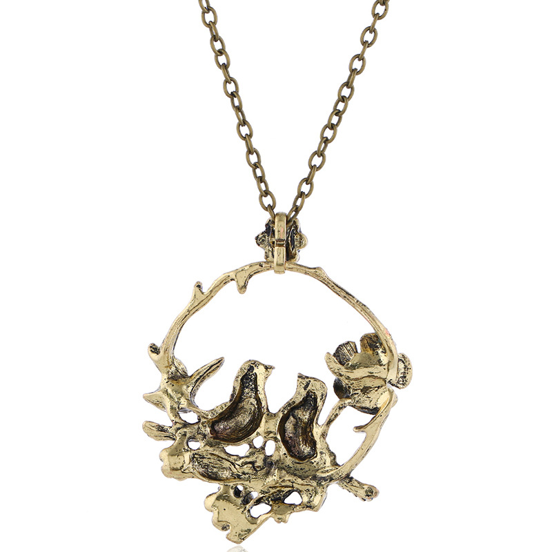 European and American fashion Retro Red Flowers hollow out bird magpie plum blossom pearl round long necklace sweater chain