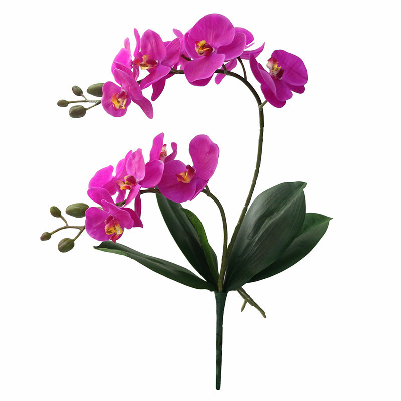 JAROWN Artificial Flower Real Touch 2 Branch Orchid Flowers with Leaves Latex Wedding Decoration Flores (2)