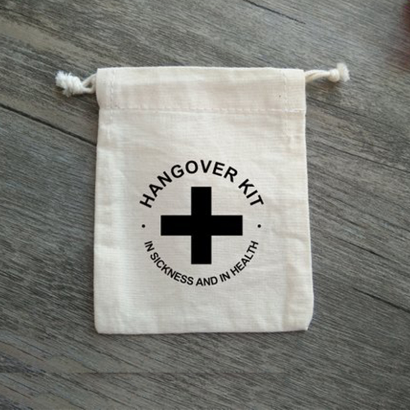 Pure White Cotton Drawstring Hangover Kit Bag Wedding Favor Bag Jewelry Gift Packaging Pouch Christmas Sachets Candy Sack