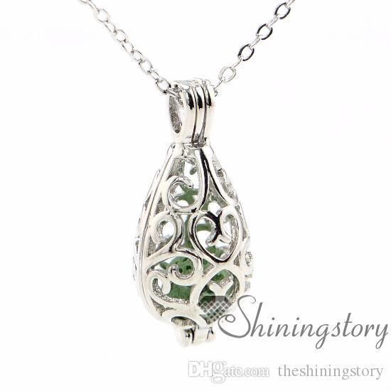 teardrop openwork essential oil necklace diffuser necklace wholesale perfume necklace aromatherapy jewelry diffusers metal volcanic stone