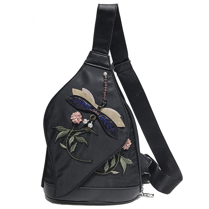 Oxford Cloth Shoulder Bag Female Simple Embroidery National Wind Three-Layer Anti-Theft Waterproof Backpack