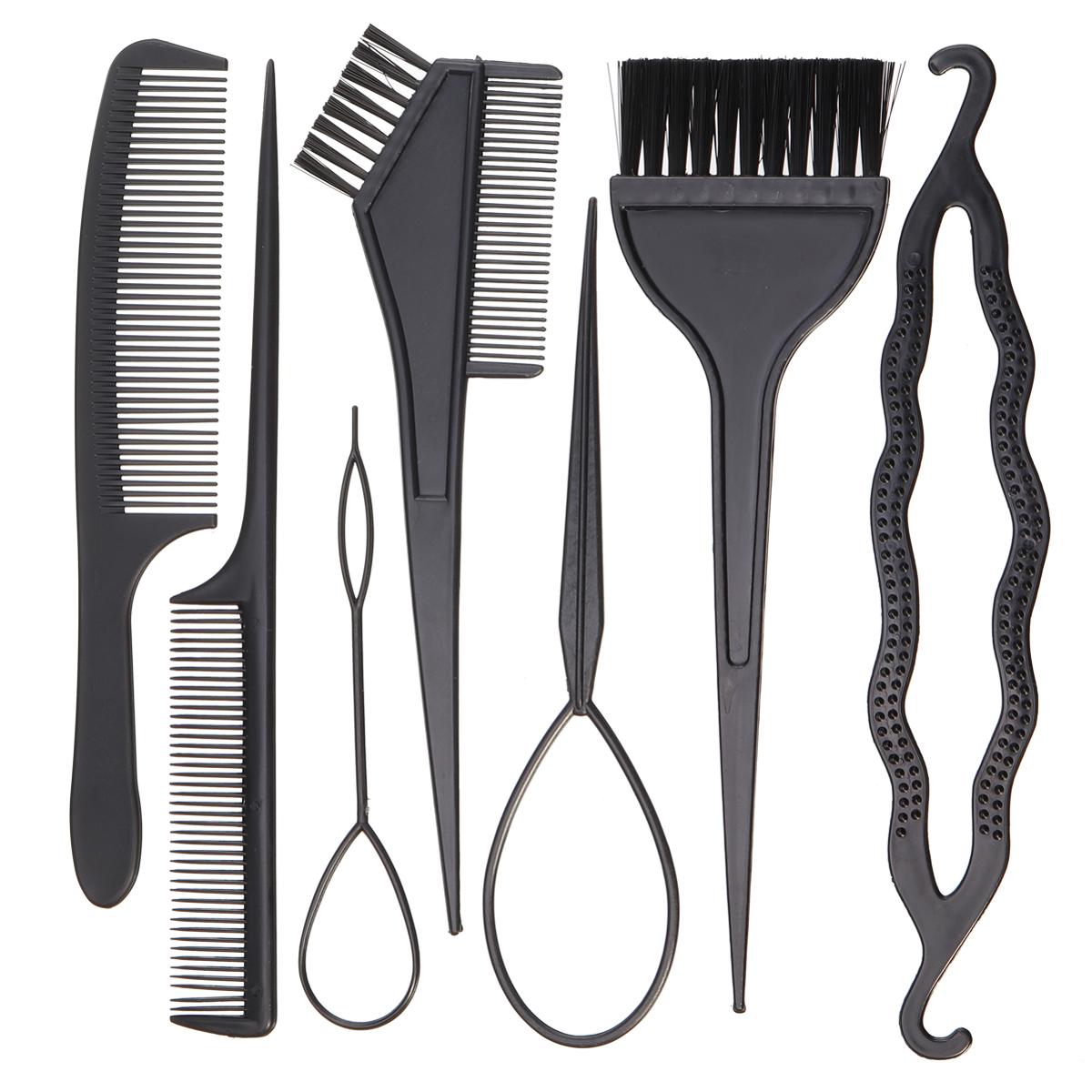 7 unids / set Magia Trenzado de cabello Teñido Torcido Enderezar Styling Tool Braiders Pull Hair Needle Brush Combs Diy Set