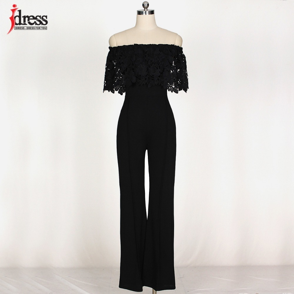 IDress Lace Crochet Rompers Women Jumpsuit Sexy Strapless Bodycon Jumpsuit Wide Leg Black White Yellow Long Pant Romper Overalls (11)