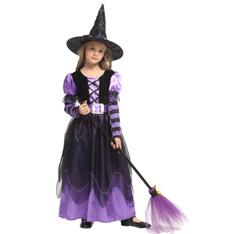 Theme Costume HUIHONSHE Selling Girl's Witch Kids Dress With Hat Clothes For Halloween Cosplay Party Fantasia Costumes