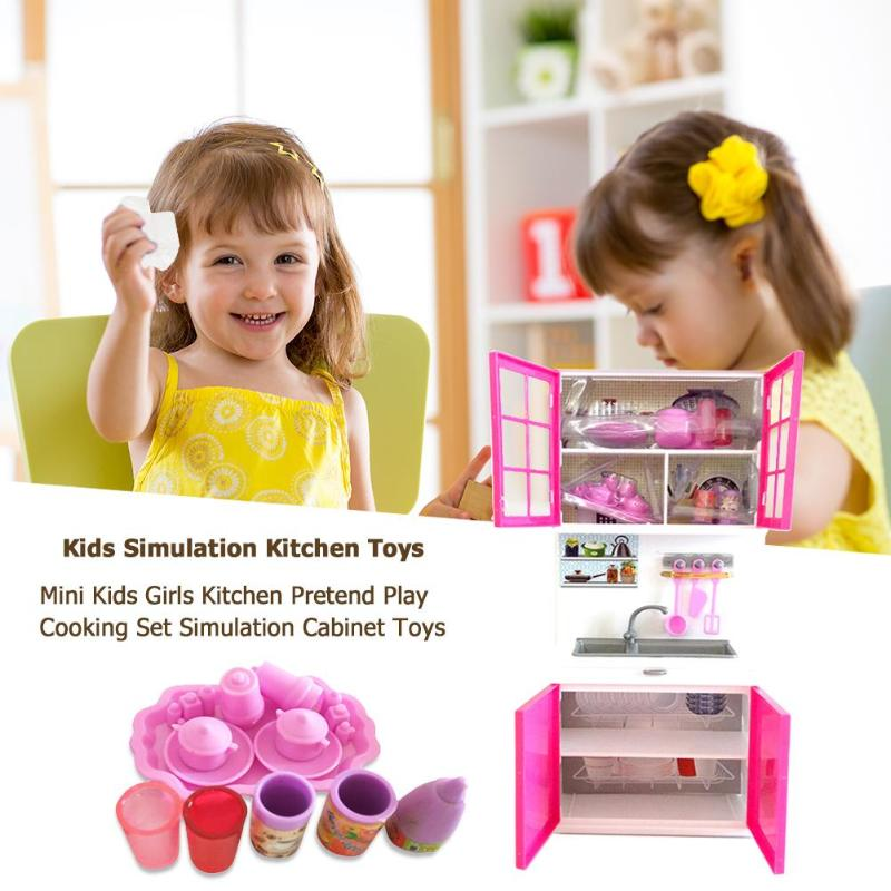 wholesale Kids Girls Kitchen Pretend Play Cooking Set Simulation Cabinet Toys