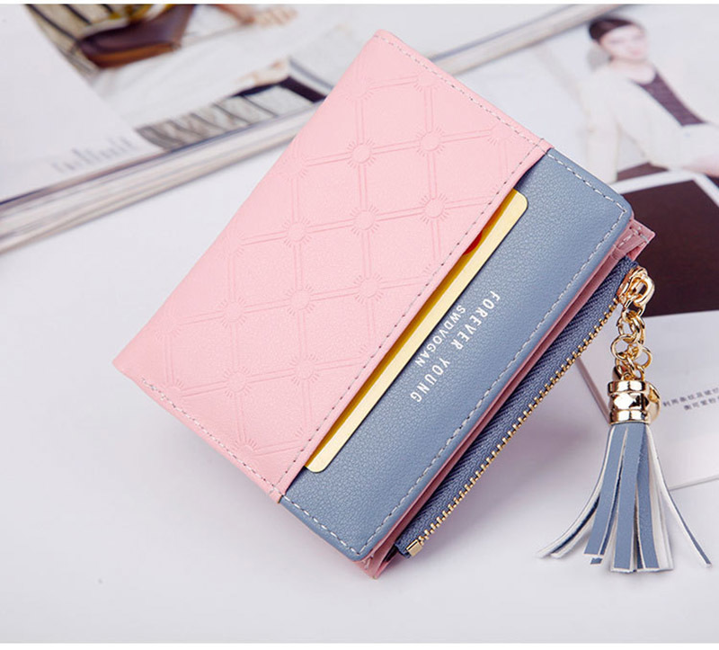 Women Wallet Female Short Paragraph Coin Purse Color Wallet Women Small Fold Wallets Tassel Zipper Button Bag Credit Card Holder (19)