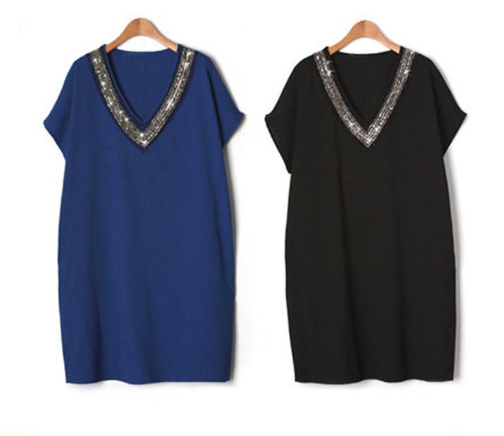 Lguc.h Trendy Sequin Dress Big Size Woman Summer Dress Large Size 2018 Full Women Clothes Black Blue Female Clothing Plus 5xl Xl J190429
