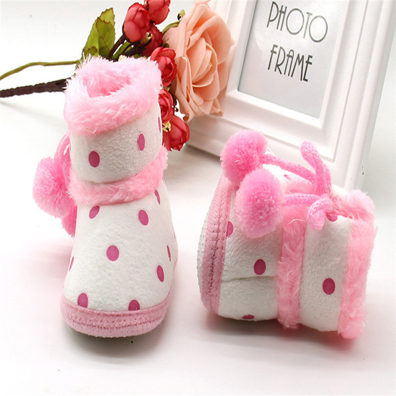 1 Pair Baby Girl Boots Baby Girl Dot Printed Bowknot Soft Sole Snow Boots Soft Crib Shoes Toddler winter Boots bota infantil D10 (13)