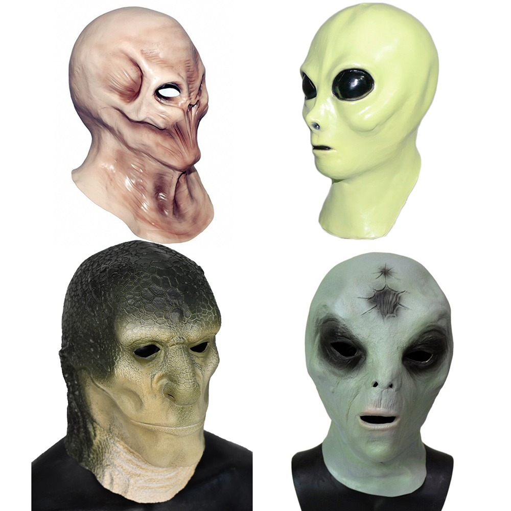 Creepy Latex UFO Alien Head Ghost Mask Tricky Head Cover For Halloween