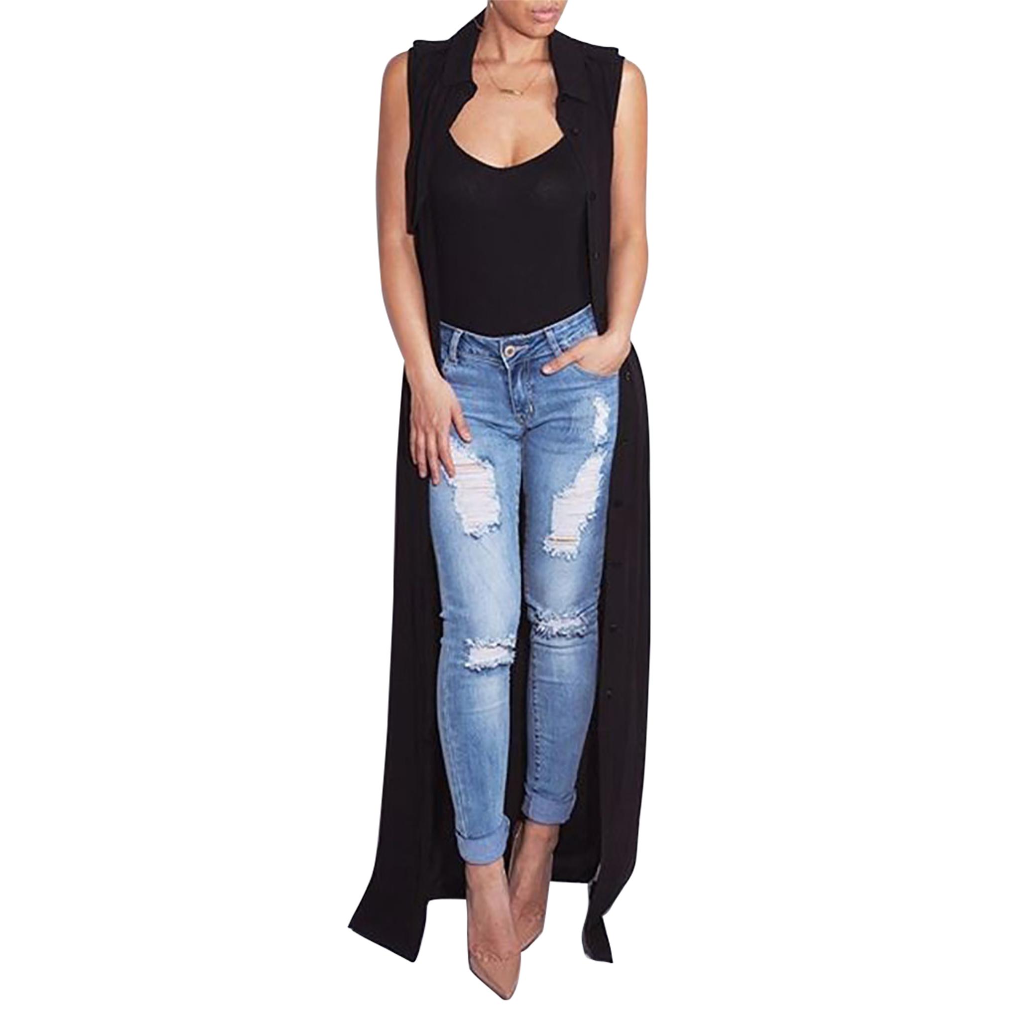 Chiffon Women Cardigan Blouses Casual Summer Turn-down Sleeveless Maxi Long Blouse Silk Shirt Cover Up Sashes C19040402
