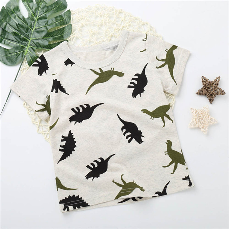 Summer Baby Boy Tops And Tees Children Infant Kid Boys Short Sleeve Cartoon Dinosaur Print T-shirt Tops Baby Boy Clothes M8Y24 (3)