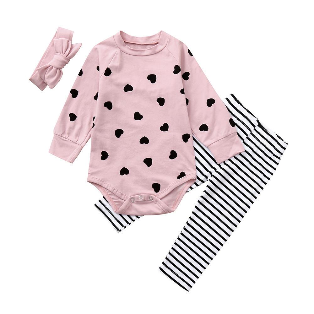 f2d6ca00f MUQGEW Conjunto de ropa para niños Corazón Imprimir Mangas largas Mameluco  + Pantalones + Diadema Conjuntos