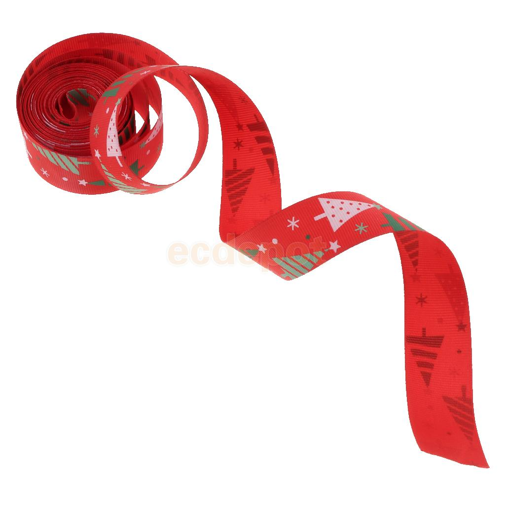/'Merry Christmas/' Gold Tree Design Cotton Xmas Ribbon Reel 5m Metres Roll NEW