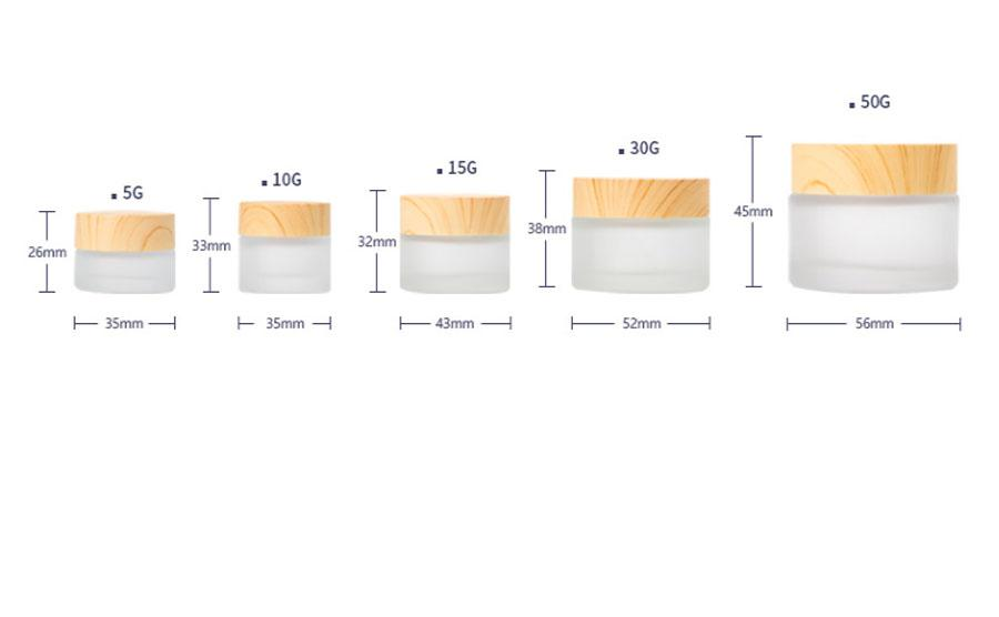New-Design-12-x-50g-30g-15g-10g-5g-Frost-Glass-Cream-Jar-with-wooden-lids (2)