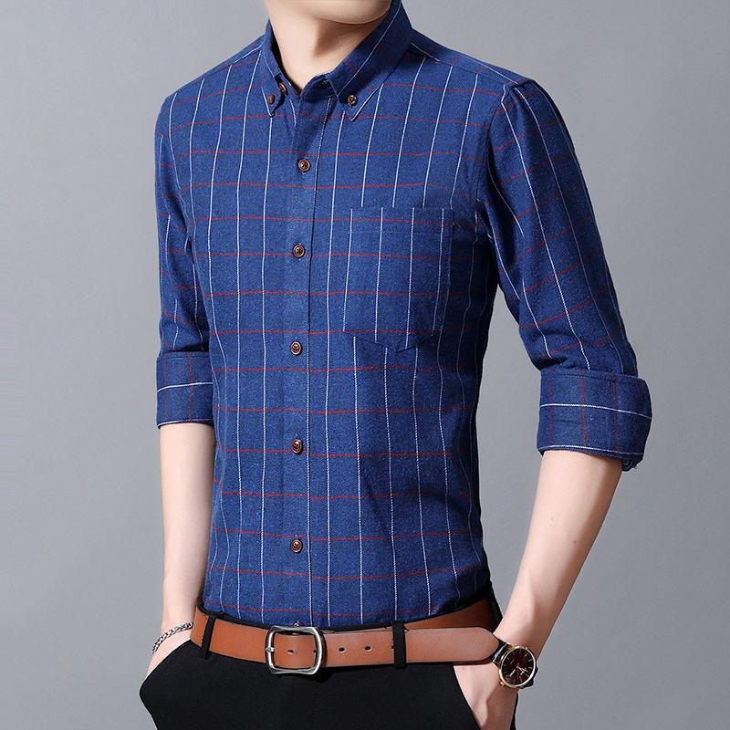 Plaid Shirt Men 100/% Cotton Spring Summer Autumn Long Sleeve Denim Pockets Mens Shirts