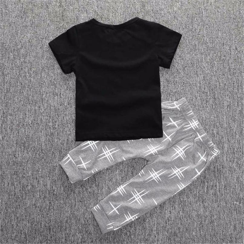 2PCS Kids Boys Clothes Boys Sets Infant Toddler Kids Baby Boys Letter Printed Short Sleeve T-shirt Tops+Long Pants Set JY26#F (3)