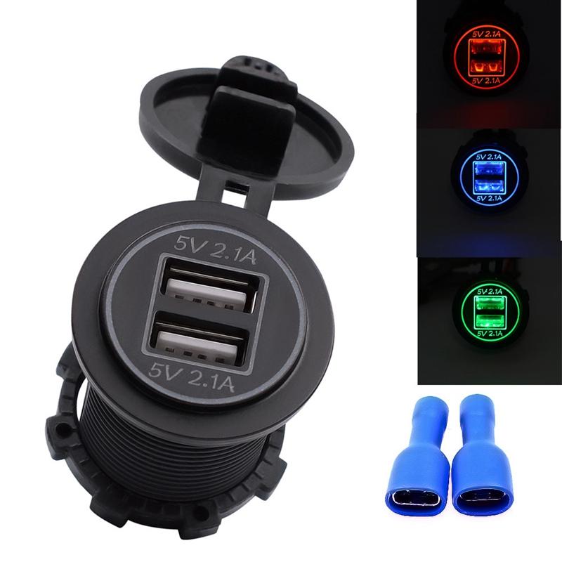 3.1A 12-V 24V LED cargador de coche universal a prueba de agua cargador de puerto USB doble toma de corriente para accesorios de autom/óviles de motocicleta,red